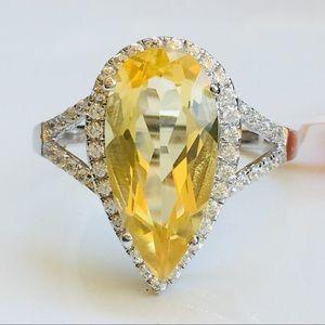 Jewelry - 14k white gold pear 6 ct citrine diamond ring